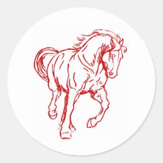 Galloping Draft Horse Round Sticker