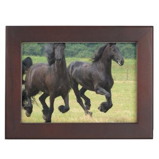 Galloping Friesian Horses Keepsake Box