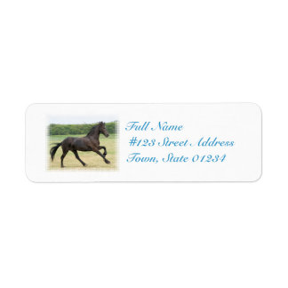 Galloping Friesian Return Address Label