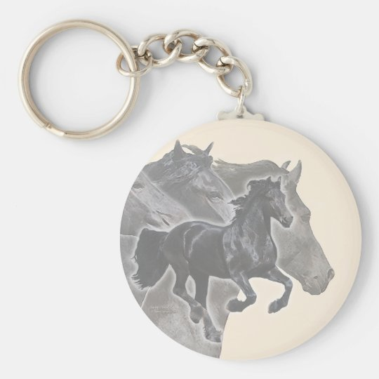 Galloping Friesians Basic Round Button Key Ring