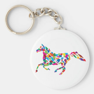 Galloping Horse Basic Round Button Key Ring