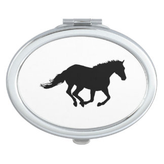 Galloping Horse Black Silhouette Black Horse Art Makeup Mirror