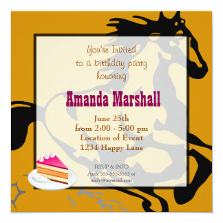 Galloping Horse Wild and Free Birthday Party 13 Cm X 13 Cm Square Invitation Card