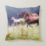 Galloping Horses Photography Throw Pillows