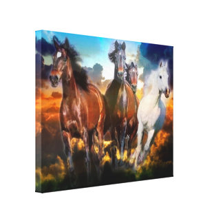 Galloping Horses Wrapped Canvas