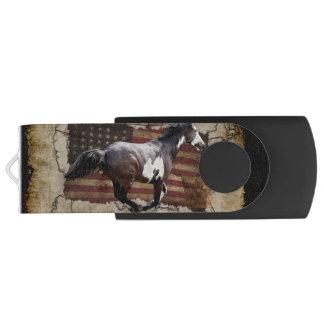 Galloping Pinto Paint and USA  Flag USB Flash Drive
