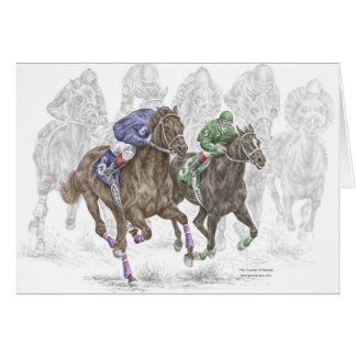 Galloping Race Horses Card