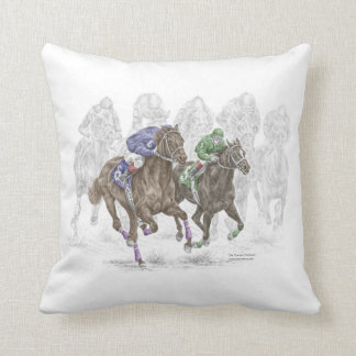 Galloping Race Horses Cushion