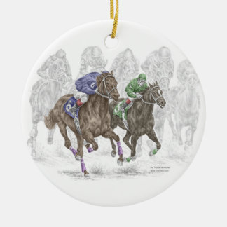 Galloping Race Horses Round Ceramic Decoration