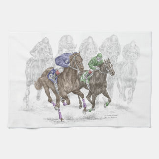 Galloping Race Horses Tea Towel