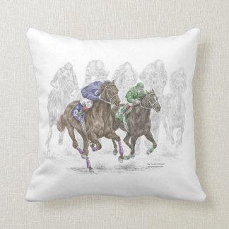 Galloping Race Horses Throw Pillow