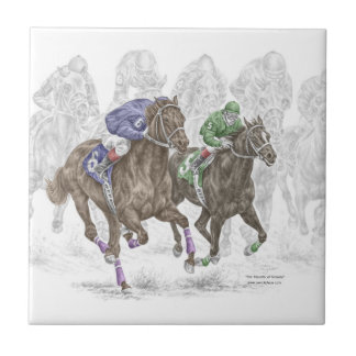 Galloping Race Horses Tile