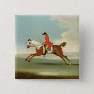 Galloping Racehorse and mounted Jockey in Red (oil 15 Cm Square Badge