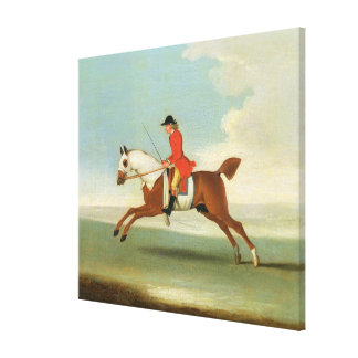 Galloping Racehorse and mounted Jockey in Red (oil Canvas Print