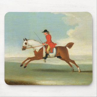 Galloping Racehorse and mounted Jockey in Red (oil Mouse Mat