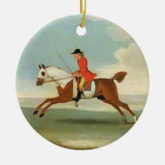 Galloping Racehorse and mounted Jockey in Red (oil Round Ceramic Decoration