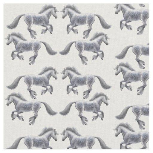 Galloping Shire Draught Horses Fabric