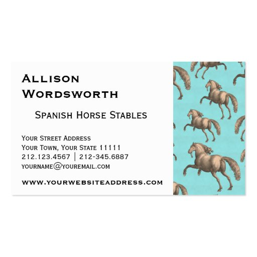 Galloping Spanish Stallions Aqua Background Business Card Templates