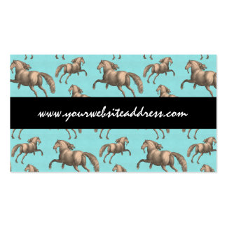 Galloping Spanish Stallions Aqua Background Pack Of Standard Business Cards