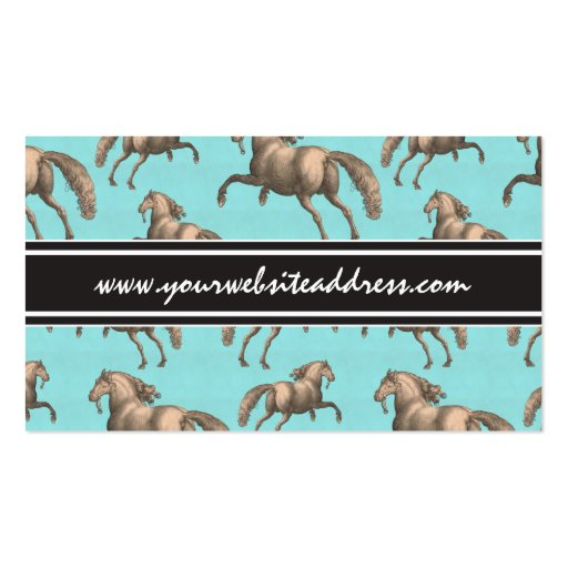 Galloping Spanish Stallions Aqua Background Business Cards