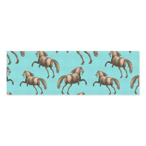 Galloping Spanish Stallions Aqua Background Business Card Template