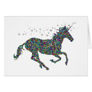Galloping Unicorn Stained Glass Greeting Card