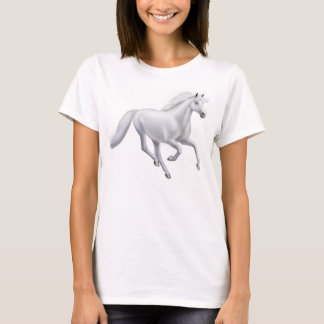 Galloping White Horse Ladies Baby Doll Shirt