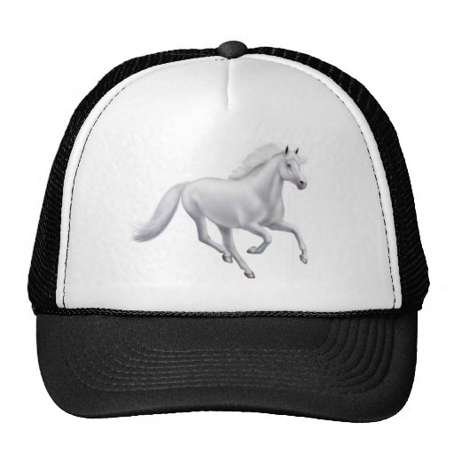 Galloping White Horse Mesh Hat