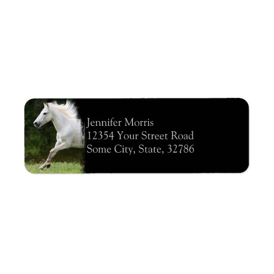 Galloping White Horse Return Address Label