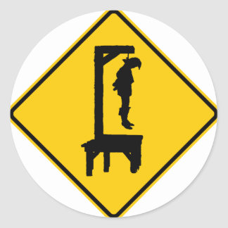 Gallows Ahead Highway Sign Sticker