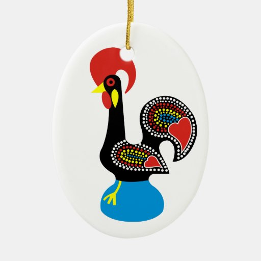 Galo de Barcelos Double-Sided Oval Ceramic Christmas Ornament