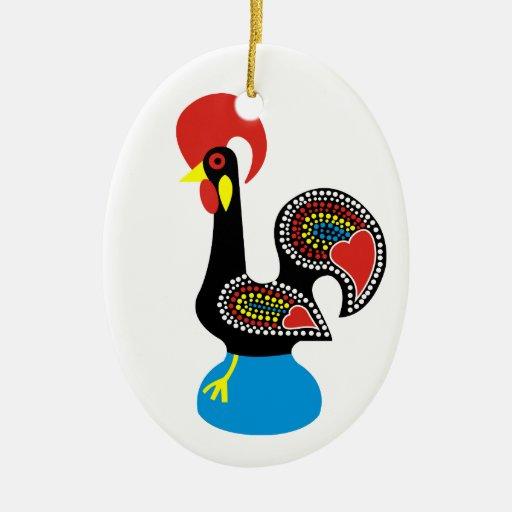 Galo de Barcelos Double-Sided Oval Ceramic Christmas Ornament