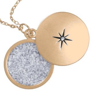 Galvanized Metal Tin Pattern Round Locket Necklace