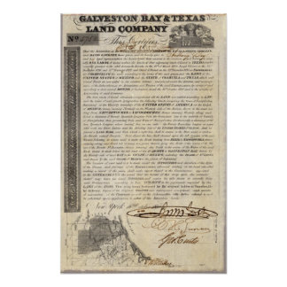 Galveston Bay and Texas Land Company Poster