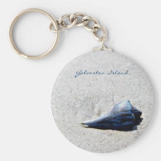Galveston Island Sea Shell Blue Key Chain