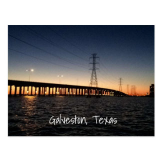 Galveston Night Time Skyline Postcard
