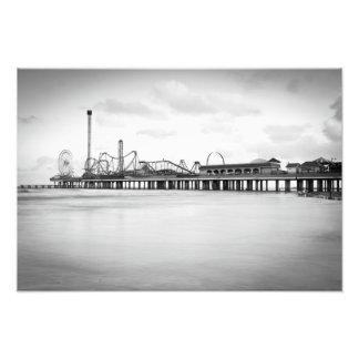 Galveston Pleasure Pier in Mono Photograph