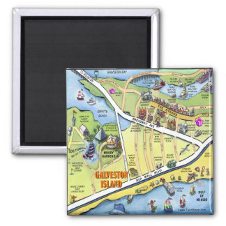 Galveston Texas Cartoon Map Square Magnet