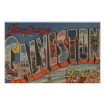 Galveston, Texas - Large Letter Scenes 2 Poster