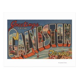 Galveston, Texas - Large Letter Scenes Postcard