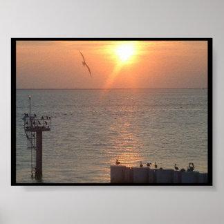 Galveston Texas Sunset on Water Poster
