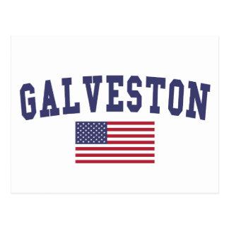 Galveston US Flag Postcard