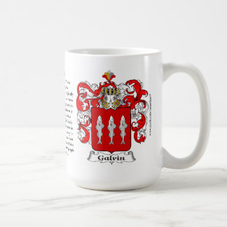 Galvin, the Origin, the Meaning and the Crest Basic White Mug