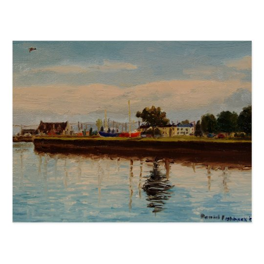 Galway City Harbour Impressionistic Oil Painting Postcard