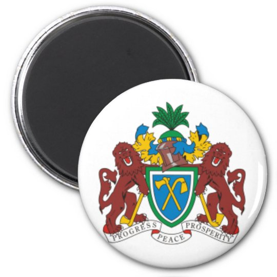 Gambia coat of arms 6 cm round magnet