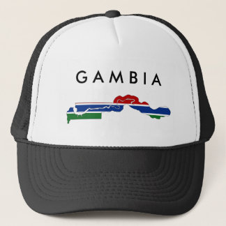 gambia country flag map shape silhouette trucker hat