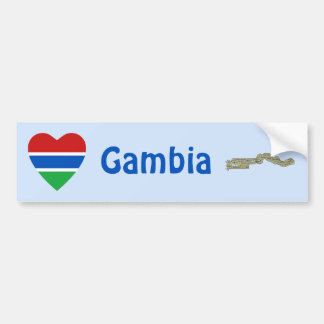 Gambia Flag Heart + Map Bumper Sticker