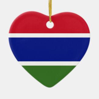 Gambia Flag Heart Ornament