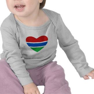 Gambia Flag Heart T-Shirt