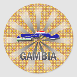 Gambia Flag Map 2.0 Classic Round Sticker